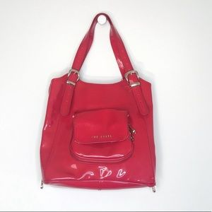 Ted Baker Patent Leather Red Tama Tote Bag Purse